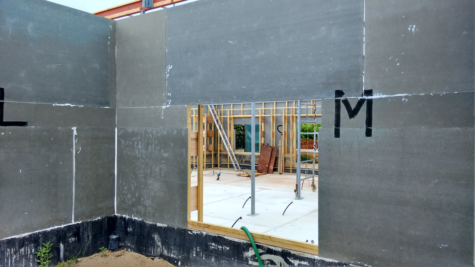 Cement Board Wall : Third line of cement panels is completed at last roselea