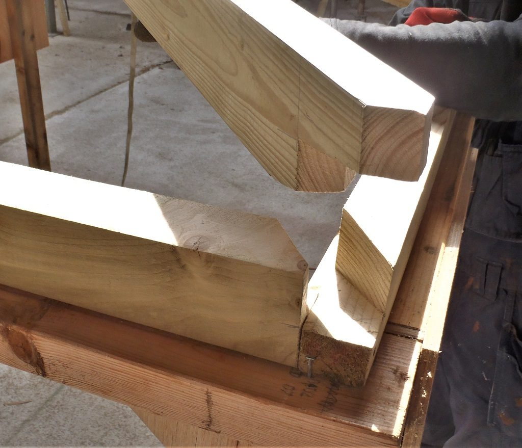 Both Ends with their Hip Rafters Are Done and First Batch of Glazing Battens Created