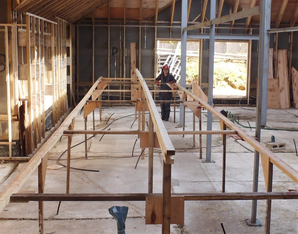 Ridge Beam Done and Sorting of Edge and Rafters Continues