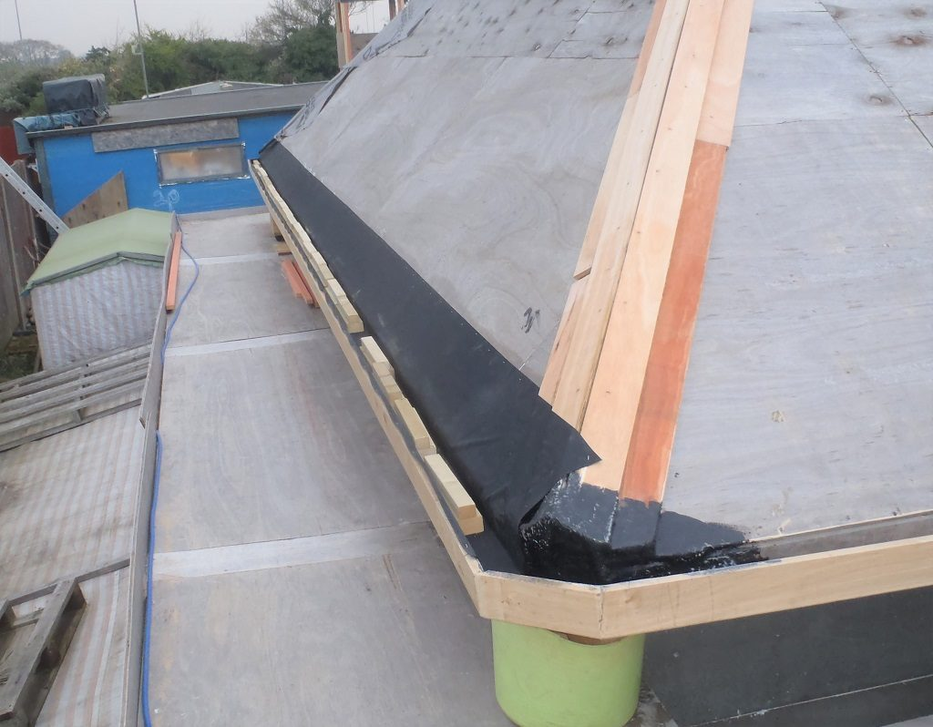 Slates on J Roof and Progress on Gutters