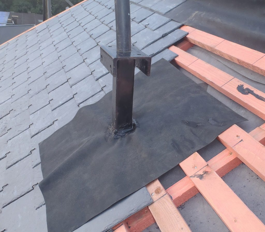 Ladder Support System Created, Roof Section I complete and Kerb Flashing Done
