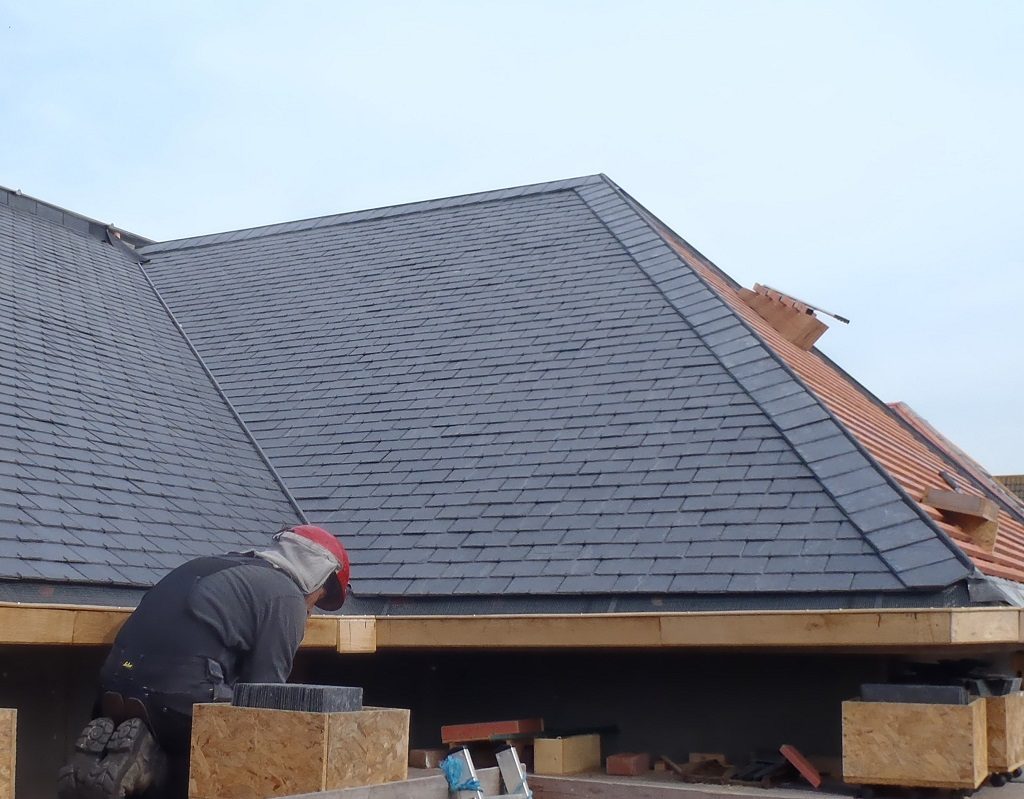 Flashing for J Hip Complete and the K Roof all Covered in Slates
