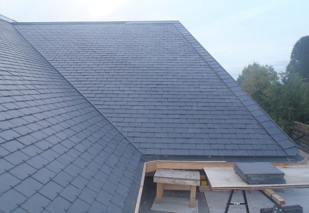 Slates on Section B, Mesh Covered On Gutter plus Repair to C-D Corner