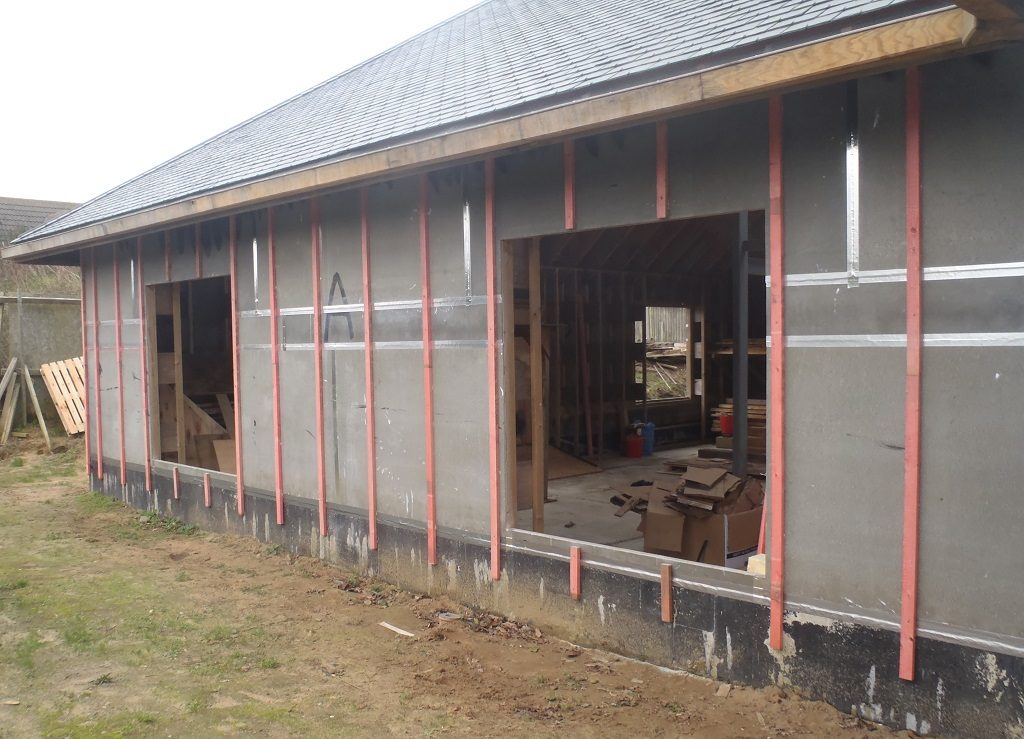 Cladding Battens are affixed to Walls