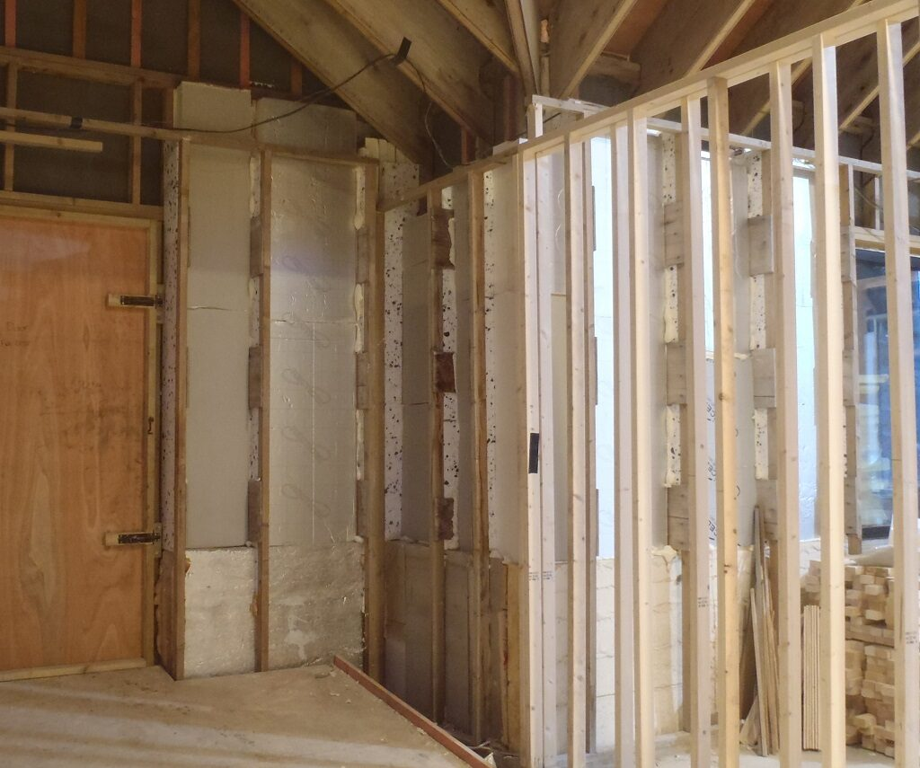 Ground Floor Walls Being Filled with Recycled Polyurethane Foam Boards