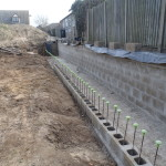 Continued with the First row of the front wall