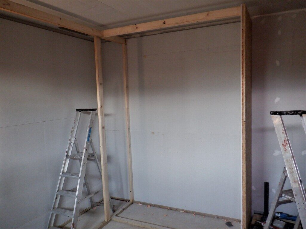 Cupboard-lined-and-basic-framework-errected-3